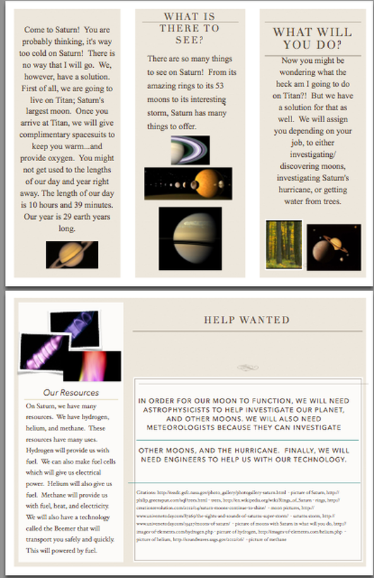 travel brochure - How to Live on Saturn